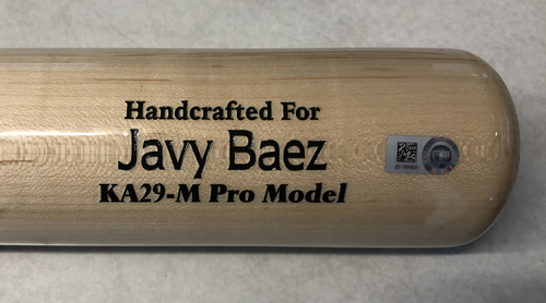 Photo of Javier Baez Game-Used Cracked Bat -- Sandy Alcantara to Javier Baez, Ground Out, Bot 2 -- Marlins vs. Cubs -- 5/6/19