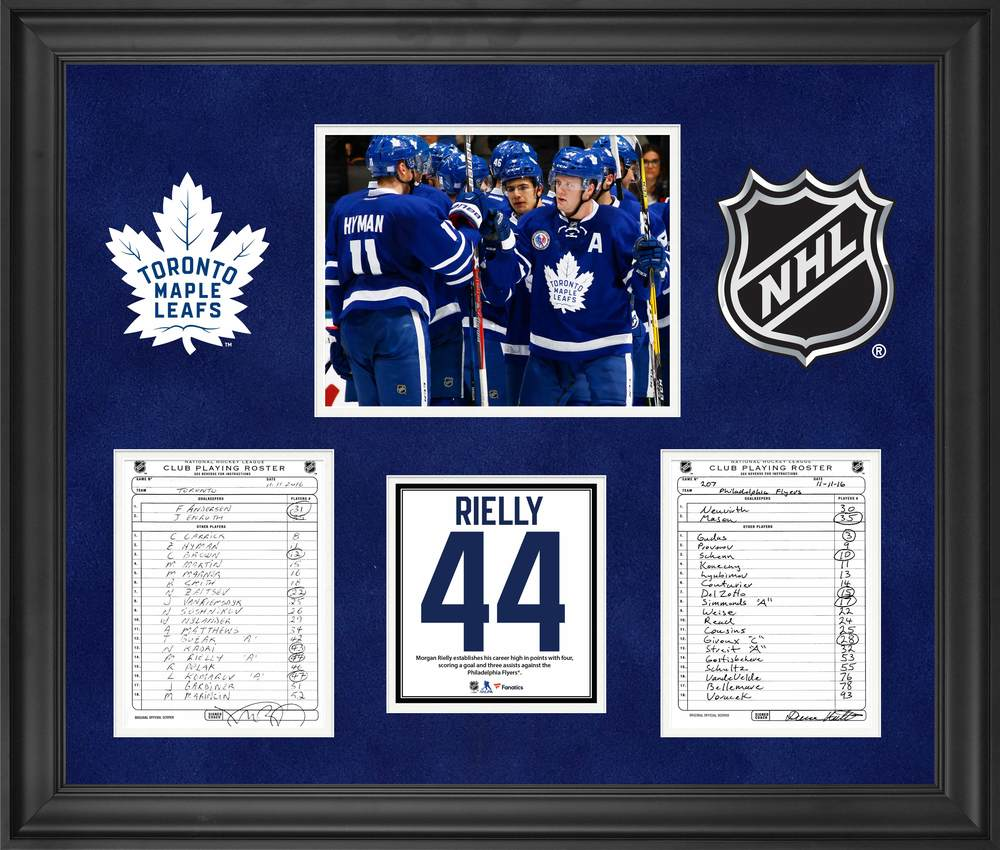 Toronto Maple Leafs Framed Original Line-Up Cards from November 11, 2016 vs. Philadelphia Flyers - Morgan Rielly Four Point Game