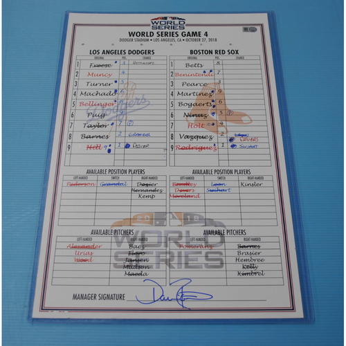 Photo of Game-Used Lineup Card - 2018 World Series - Boston Red Sox at Los Angeles Dodgers - Los Angeles Dodgers Dugout - Game 4 - 10/27/2018