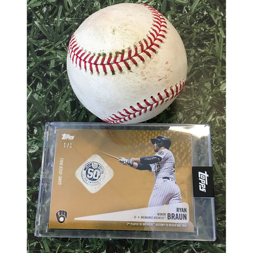 Photo of Game-Used Baseball WSH@MIL 07/24/18 - Brandon Kintzler - Ryan Braun: Double (Includes Ryan Braun Topps Relic Card Commemorating 800th Career Extra-Base Hit [08/28/20] - Limited Edition # 1 / 1)