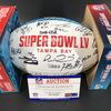 NFL - Chiefs Team Signed Super Bowl 55 Panel Ball Signed by Patrick Mahomes, Andy Reid, Harrison Bukter, Travis Kelce, Clyde Edwrds-Hillare, Tyrann Mathieu, Steven Wisnewski, Chad Henne, Ward, White, Wilson, Townsond, Thornhill, Nnadi, Keyes, Kiazer, Sore