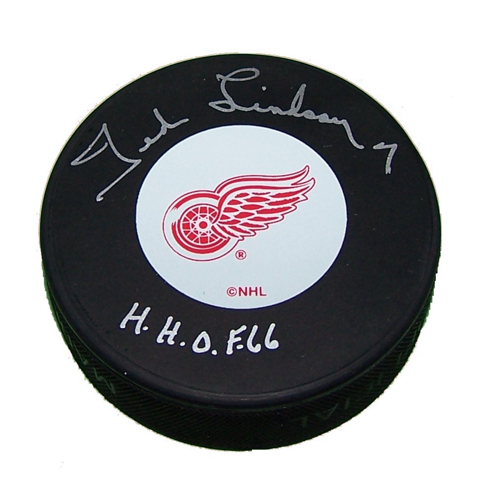Ted Lindsay Autographed Detroit Red Wings Puck