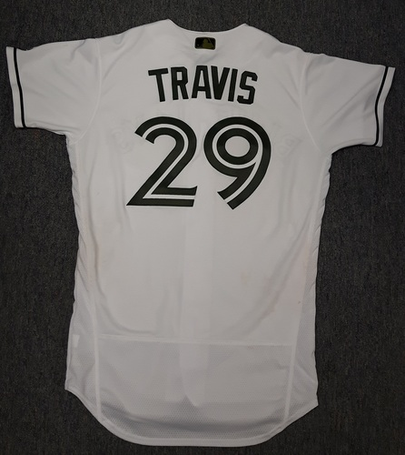 Photo of Authenticated Game Used 2017 Memorial Day Jersey - #29 Devon Travis. Travis went 4-for-6 with 1 double, 1 run and 2 RBIs. Size 42