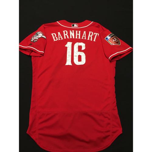 Photo of Tucker Barnhart -- Game-Used Spring Training Jersey -- 2018 Cactus League