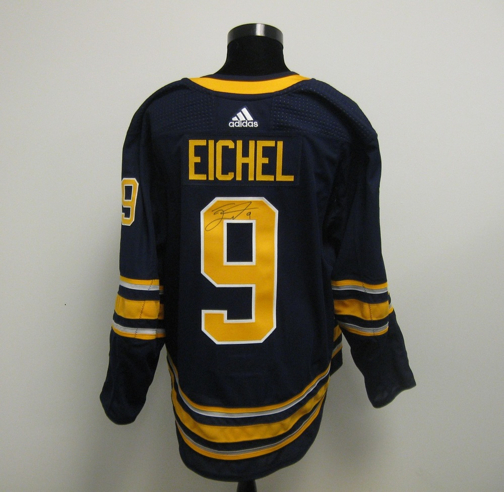 100% authentic 5d924 d4ca1 Jack Eichel Autographed Event Worn Jersey from 2018 Player ...