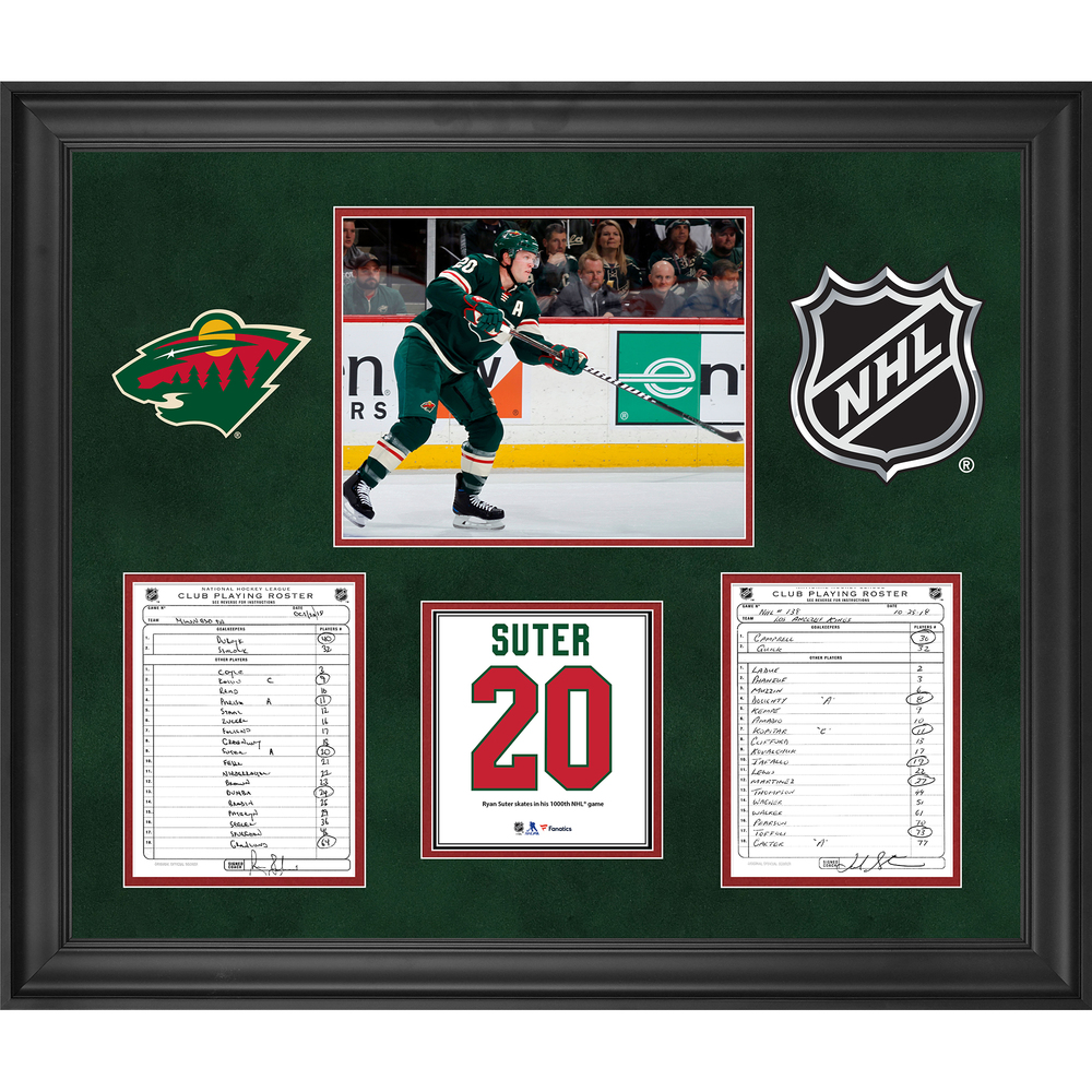 Minnesota Wild Framed Original Line-Up Cards from October 25, 2018 vs. Los Angeles Kings - Ryan Suter 1000th NHL Career Game