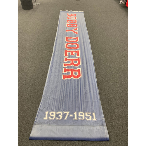 "Photo of Bobby Doerr Team Issued Fenway Park Navy Street Banner (34""x168"")"