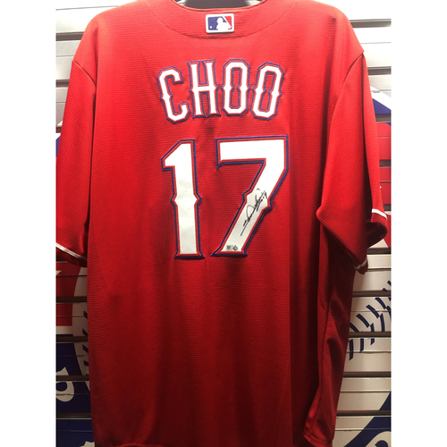 Photo of Shin-Soo Choo Red Replica Autographed Jersey