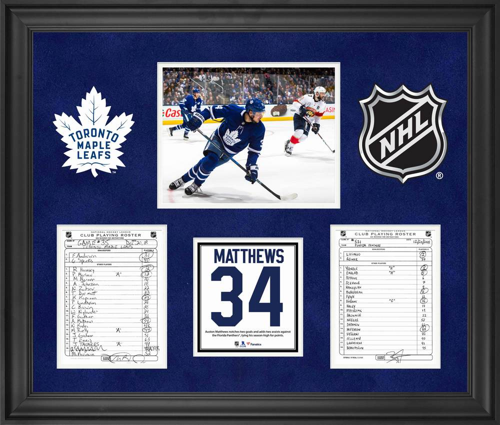 Toronto Maple Leafs Framed Original Line-Up Cards from December 10, 2018 vs. Florida Panthers - Auston Matthews Four Point Game