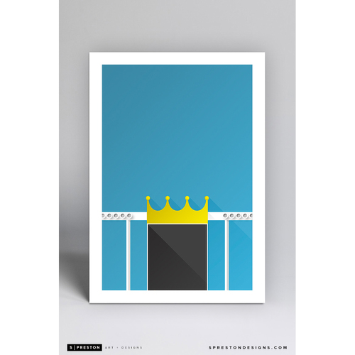 Photo of Kauffman Stadium Crownvision- Minimalist Ballpark Art Print by S. Preston  - Kansas City Royals