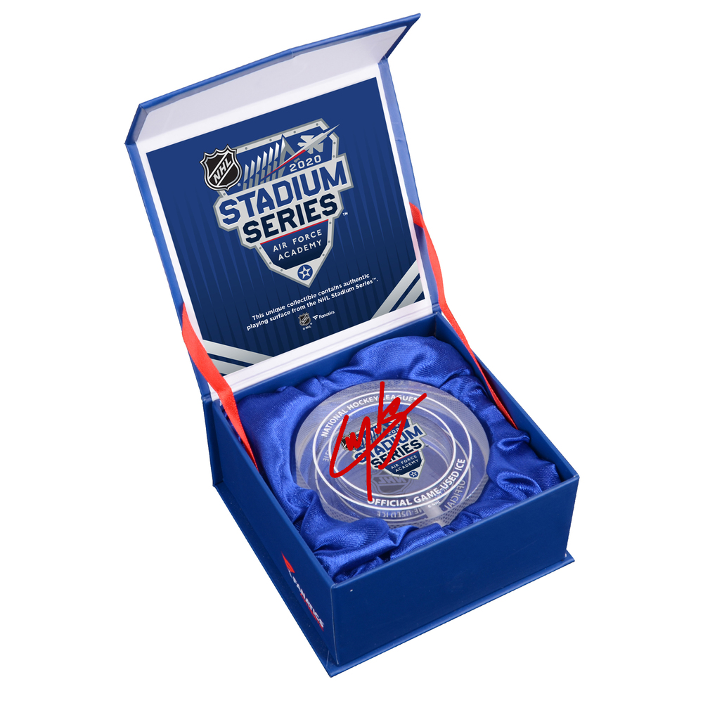 Cale Makar Colorado Avalanche Autographed 2020 NHL Stadium Series Crystal Puck - Filled with Ice from the 2020 NHL Stadium Series