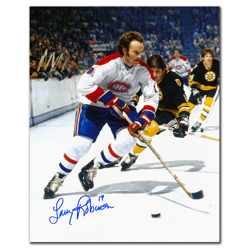 Larry Robinson Montreal Canadiens vs BOSTON Autographed 8x10