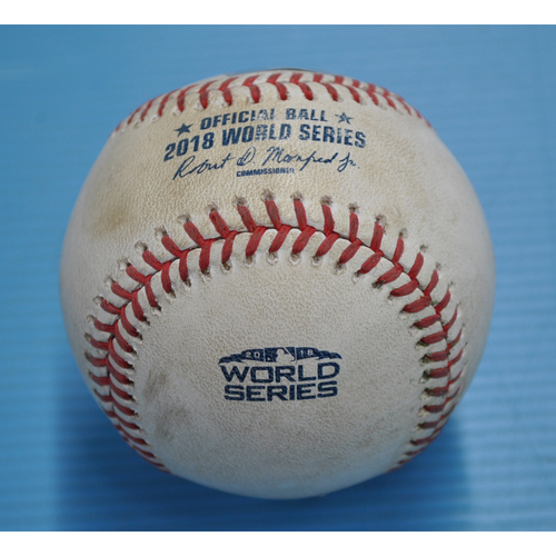 Photo of Game-Used Baseball - 2018 World Series - Boston Red Sox at Los Angeles Dodgers - Pitcher - Kenta Maeda, Batter - Sandy Leon - Swinging Strikeout - Top 15 - Game 3 - 10/26/2018
