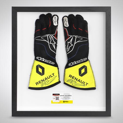 Photo of Daniel Ricciardo 2020 Framed Signed Race-worn gloves - Russian Grand Prix