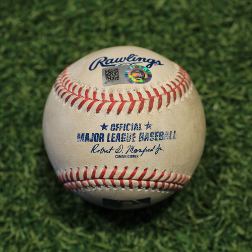 Photo of Game-Used Baseball: Luis Castillo 544th Career Strikeout (CIN @ KC Game 1 8/19/20)