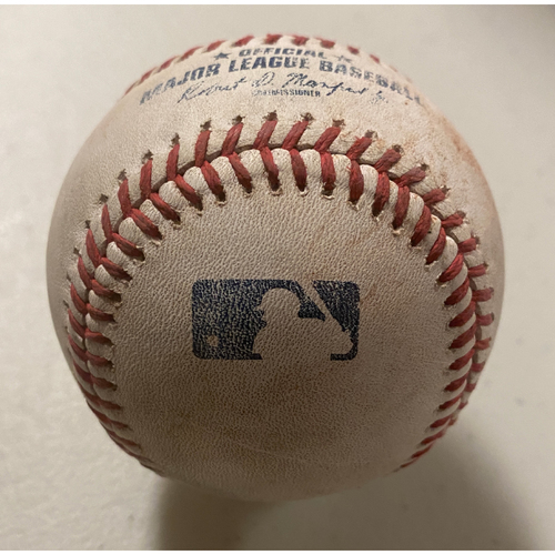 Photo of 2020 Game-Used Baseball used on 9/9/20 vs. Seattle Mariners - Joey Bart Singles to LF off of Nick Margevicius - Joey Bart Career Hit #16