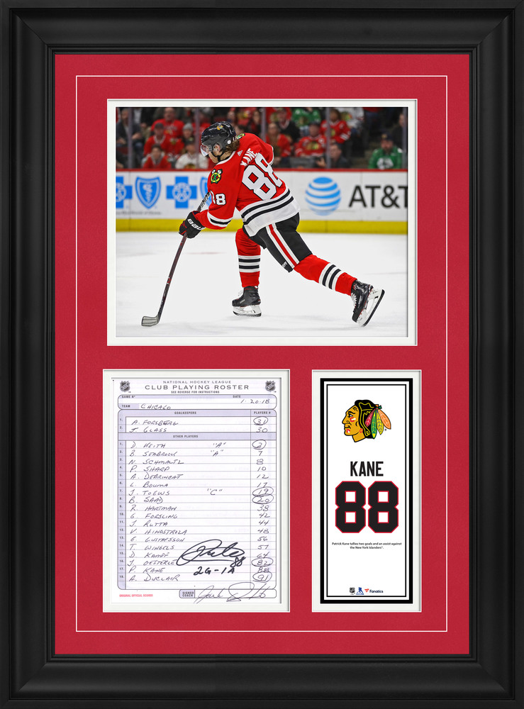 Patrick Kane Chicago Blackhawks Framed Autographed Original Line-Up Card from January 20, 2015 vs. New York Islanders with