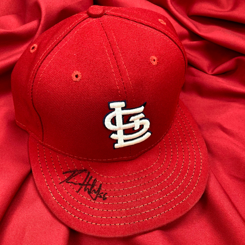 Photo of Ryan Helsley Autographed Game Used Home Cap (STL @ MIL 4/16/19, MLB debut, first career strikeout and first career hit) (Size 7 3/8)