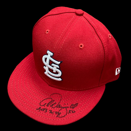 Photo of Adam Wainwright Autographed Team Issued Home Cap (Size 7 3/4)