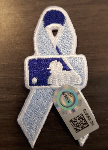 Photo of Authenticated Father's Day Ribbon Patch - #27 Brett Cecil (June 21, 2015). Cecil went 0.2 IP with 2 Hits, 4 ER, 2 Walks and 1 K. He was the Losing Pitcher. Approximately 2 inches in length by 1 inch in width.