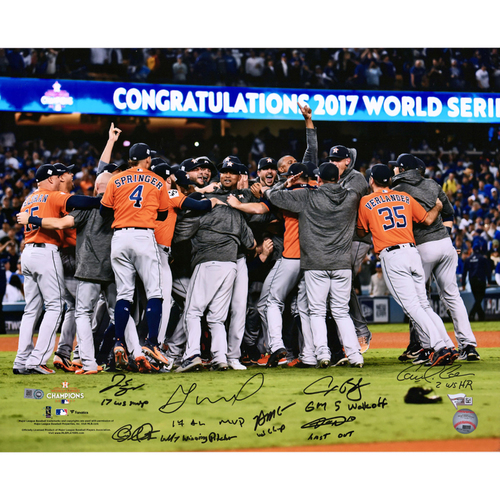 "Photo of Houston Astros 2017 MLB World Series Champions Autographed 16"" x 20"" Celebration Photograph with 7 Signatures and Multiple Inscriptions - L. E. #17 of 17"