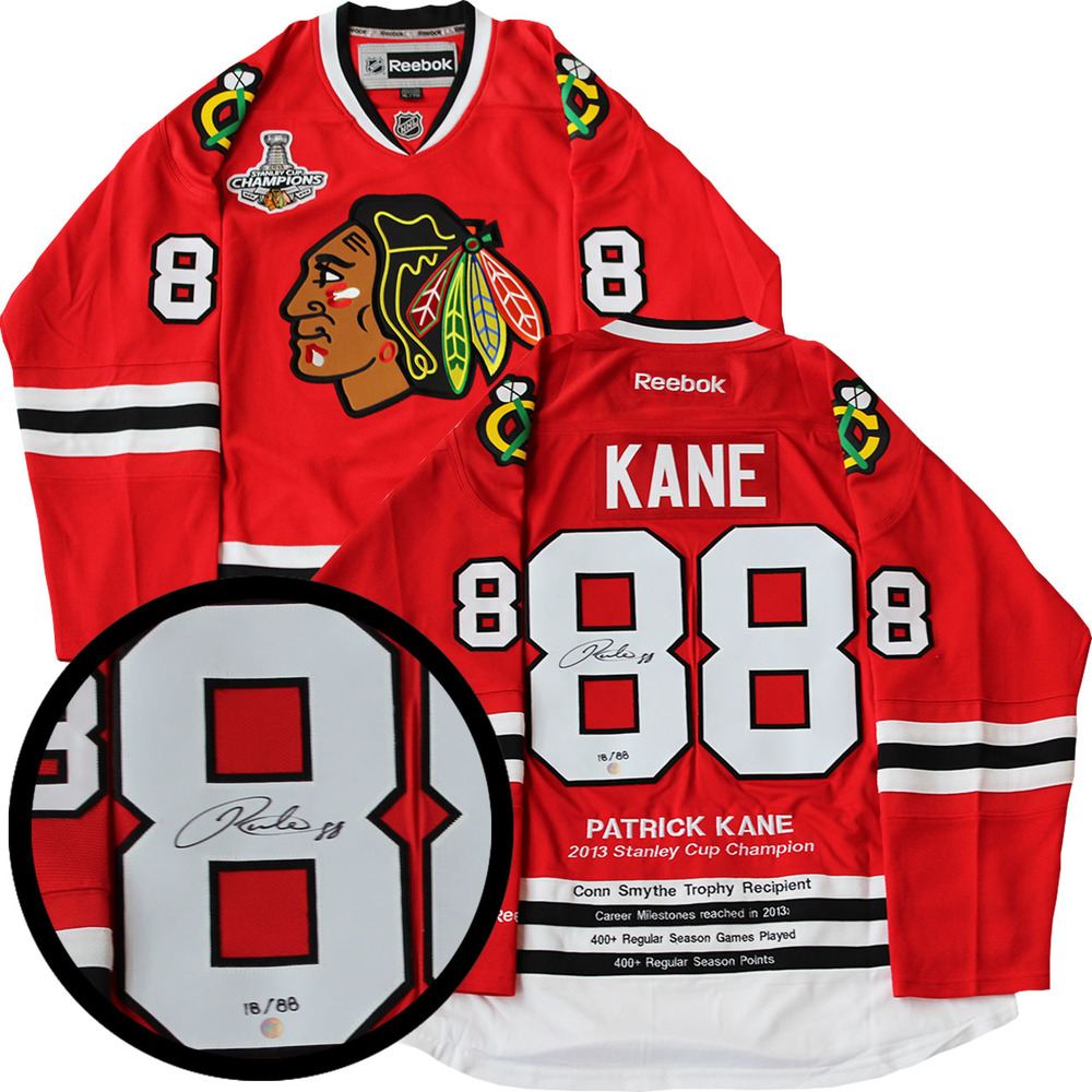 Patrick Kane Signed Milestone Jersey Blackhawks Replica Red Reebok 2013 Cup LE 88