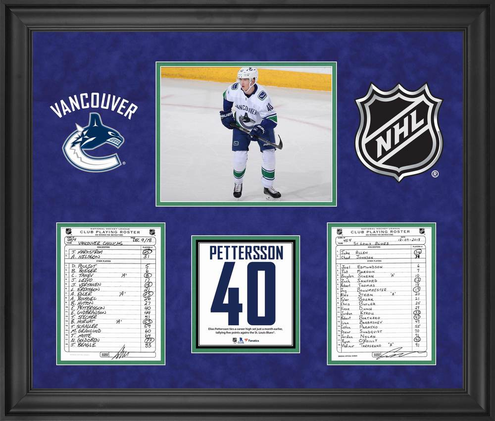 Vancouver Cancucks Framed Original Line-Up Cards from December 9, 2018 vs. St. Louis Blues - Elias Pettersson Five Point Game
