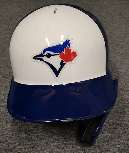 Photo of Authenticated Game Used Helmet - #27 Vladimir Guerrero Jr. (HR Game on July 27, 19 vs TBR). Size 8. Rookie Season