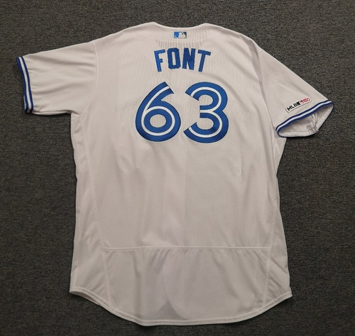 Photo of Authenticated Game Used Jersey: #63 Wilmer Font (Aug 10, 19 vs NYY: 2 IP, 0 ER, 3 Ks, Aug 13, 19 vs TEX: 2 IP, 1 Hit, 0 ER, 2 BB, 2 Ks, Aug 27, 19 vs ATL: 2 IP, 1 Hit, 0 ER, 4 Ks). Size 52