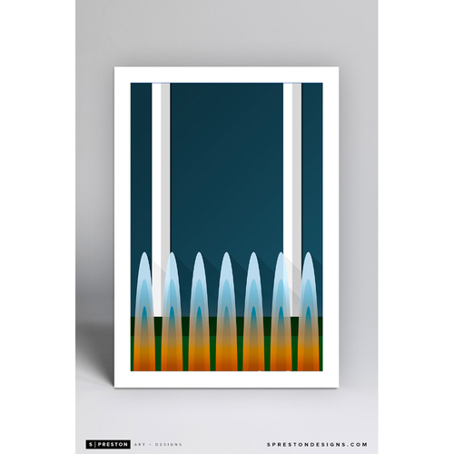 Photo of Kauffman Stadium Fountains - Minimalist Ballpark Art Print by S. Preston  - Kansas City Royals