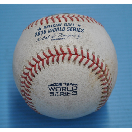 Photo of Game-Used Baseball - 2018 World Series - Boston Red Sox at Los Angeles Dodgers - Pitcher - Alex Wood, Batter - Mookie Betts - Grounds into Forceout - Top 18 - Game 3 - 10/26/2018