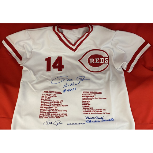Photo of Pete Rose Autographed Stats Jersey (Number 70 of 114)