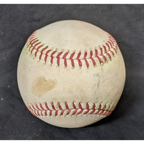 Photo of Game-Used Baseball: 9/30/20 Brewers @ Dodgers Wild Card: Batter: Christian Yelich, Pitcher: Julio Urias (Double)