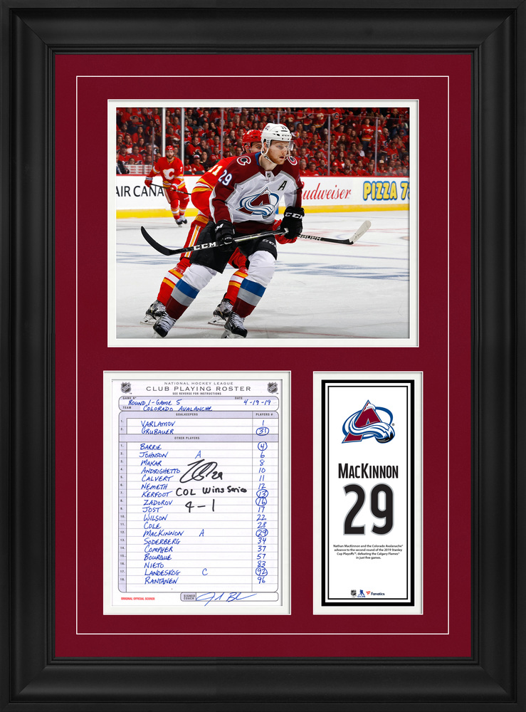 Nathan MacKinnon Colorada Avalanche Framed Autographed Original Line-Up Card from April 19, 2019 vs. Calgary Flames with