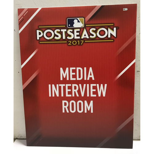 Photo of Postseason 2017 Media Interview Room Signage