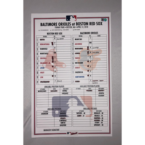 Photo of Orioles vs Red Sox April 14, 2018 Game-Used Lineup Card - Red Sox Win 10 to 3