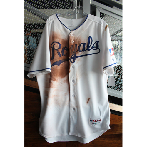 Photo of Game-Used 1969 Throwback Jersey: Mike Moustakas (Size 48 - NYY at KC - 5/19/18)