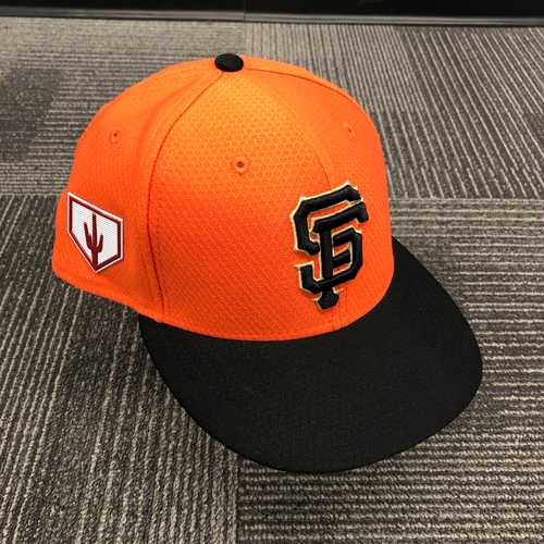 Photo of 2019 Game Used Orange Spring Training Cap worn by #91 Trevor Gott - Size 7 1/8