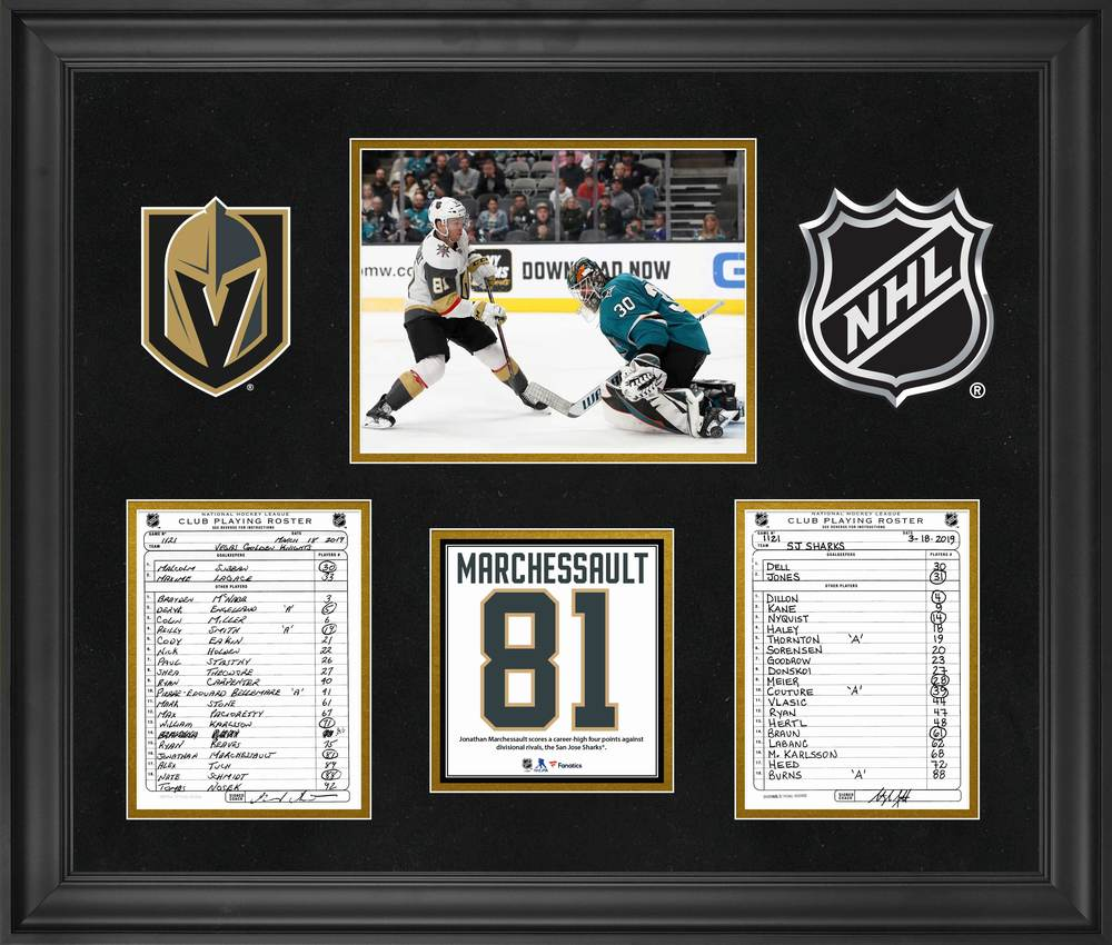 Vegas Golden Knights Framed Original Line-Up Cards from March 18, 2019 vs. San Jose Sharks - Jonathan Marchessault Four Point Game
