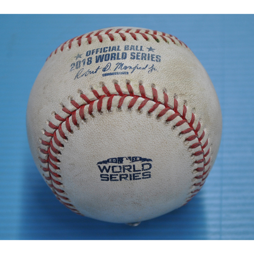 Photo of Game-Used Baseball - 2018 World Series - Boston Red Sox at Los Angeles Dodgers - Pitcher - Ryan Brasier, Batter - Yasiel Puig - Single - Bottom 7 - Game 3 - 10/26/2018