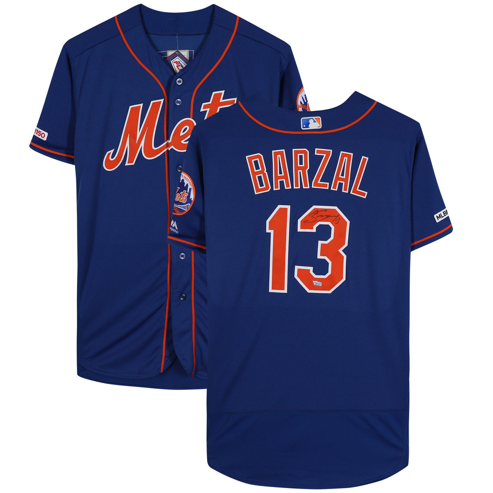 Mathew Barzal New York Islanders Autographed New York Mets Blue Majestic Authentic Jersey - NHL Auctions Exclusive