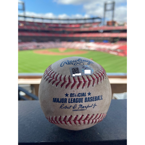 Photo of Cardinals Authentics: Game Used Baseball Pitched by Corbin Burnes to Yadier Molina *Single Hit 1999*