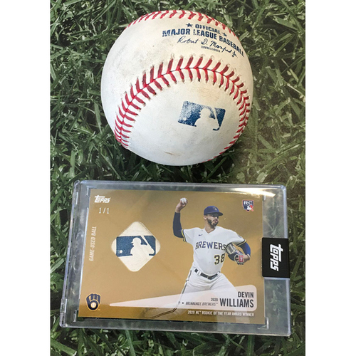 Photo of Game-Used Baseball STL@MIL 09/14/20 (Game 1 of Doubleheader) - Devin Williams - Harrison Bader: Strikeout (Includes Devin Williams Topps Relic Card Commemorating 2020 National League Rookie of the Year Season - Limited Edition # 1 / 1)