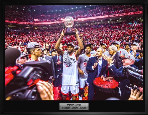 20x29 Raptors Conference Champions Celebration Canvas Framed
