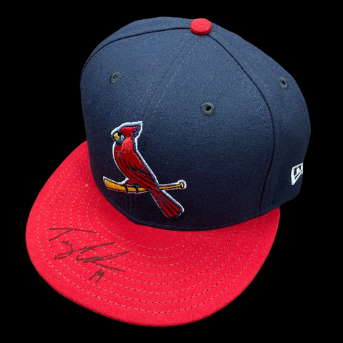 Photo of Tommy Edman Autographed Team Issued Alternate Cap (Size 7 3/8)