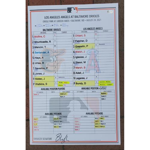Photo of Lineup Card: 8/24/21 vs. Angels (Shohei Ohtani 1-4)