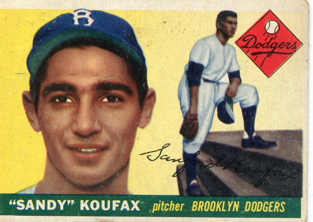 1955 Topps #123 Sandy Koufax Rookie Card -- Dodgers Hall of Famer