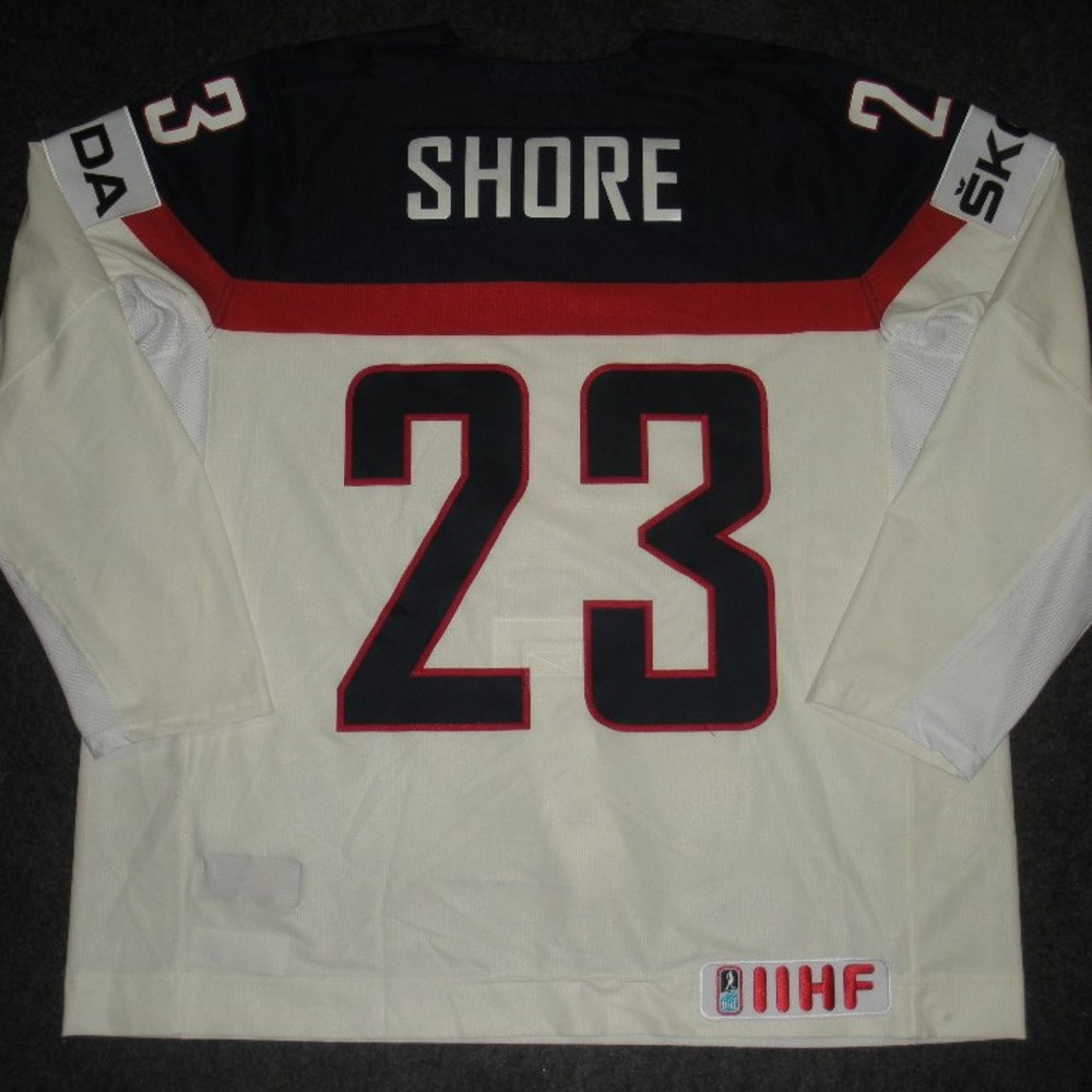 Drew Shore - 2014 IIHF Mens World Championship - Team USA White Game-Worn Jersey - Worn on 5/9/14, 5/15/14 and 5/20/14