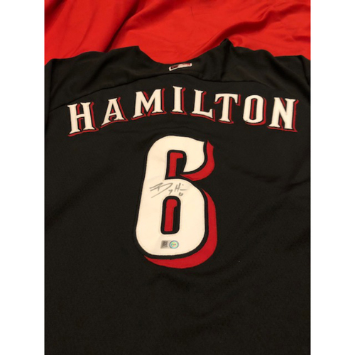 Photo of Billy Hamilton - Autographed Jersey - 2015 Black Batting Practice Jersey