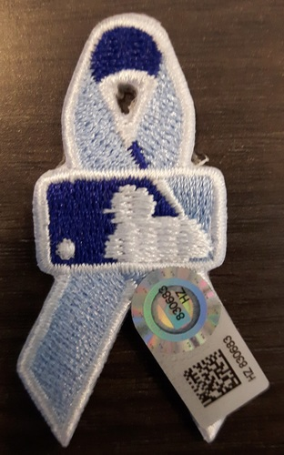 Photo of Authenticated Father's Day Ribbon Patch - #10 Edwin Encarnacion (June 21, 2015). Encarnacion went 1-for-5 with 1 Double and 1 Run. Approximately 2 inches in length by 1 inch in width.
